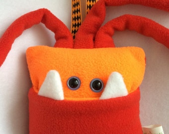 Tooth Fairy Pillow | Bright Orange and Red Monster | Tooth Fairy Pillow