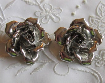 Vintage Judy Lee Large Silver Tone Rose Clip On Earrings