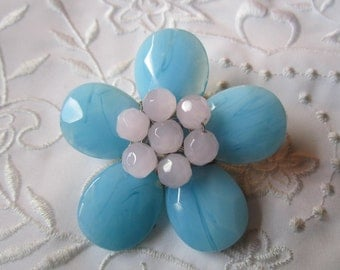 Vintage Blue and Pale Pink Glass Large Flower Brooch