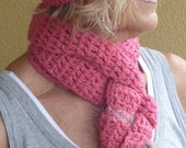 Women Fashion / Crochet Hat and Scarf Set / Hats By Anne /  Bohemian Accessories / Hot Pink Colorado Clothing / Ski Accessories