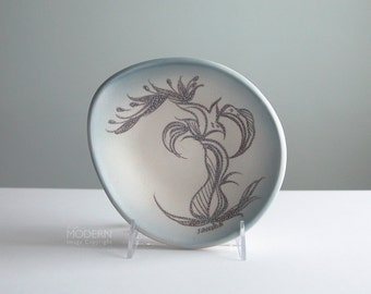 Sascha Brastoff Misty Blue Mid Century Modern California Pottery Freeform Bowl