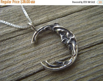 ON SALE Man in the moon necklace in sterling silver