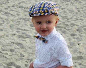 SALE 50% OFF Blue yellow plaid newsboy boys spring cap brightly colored baby hat elastic back boys hat- Beach Boy