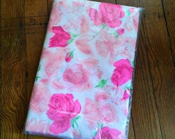 Vintage Duvet Bkanket Comforter Cover Pink Floral Flower NOS New Old Stock