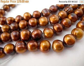 ON SALE Large Hole Freshwater Pearl Chocolate Earth Tone Brown 11mm 12mm  Potato 18 Large Pearls