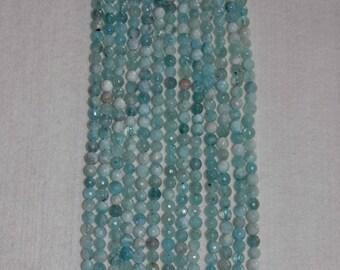 Aquamarine, Aquamarine Bead, Faceted Aquamarine, Natural Stone, Semi Precious Bead, Gemstone Bead, Sparkle, Full Strand, Grade A, 6 mm