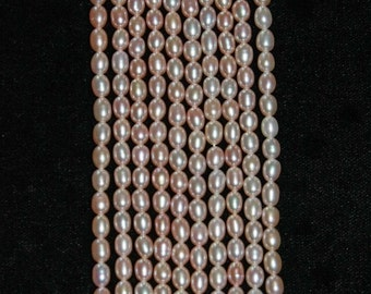 Pearl, Freshwater Pearl, Rice Pearl, Cream Taupe, Luminescent, Strand, No3, 6mm, Pearl Bead