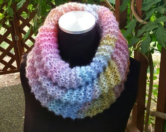 Hand Knit Infinity Cowl Scarf in Shades of Pastels