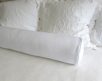 WHITE linen extra long bolster Pillow 8x54