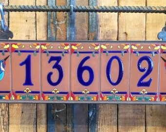 Royal Blue on Terra Cotta Ceramic Tile House Numbers with Hummingbird End Caps
