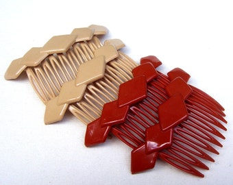 Vintage hair combs 4 mid century celluloid hair accessory, hair jewelry decorative comb hair pin hair pick (XXJ)