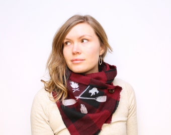 Red Buffalo Plaid Button-up Scarf with Cabincore Print and wood button