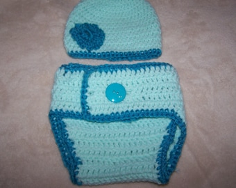 Mint Green Turquoise blue Hat Diaper Cover Set Photography Prop