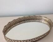Mirrored Vanity Tray Gold Filigree, Brass Vanity Tray Vintage Vanity Tray Set, Make Up Display, Decorative Tray