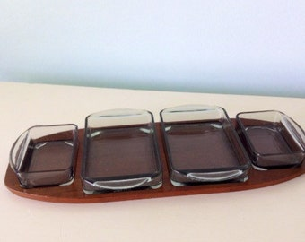 Denmark Teak Wood Server Set, Teak with Tempered Glass, Partitioned Tray, Server, Mid Century Mod Kitchenware Mod Danish