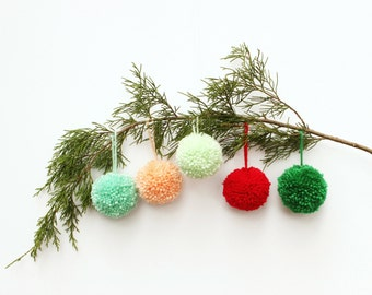 Pom Pom Ornaments -  (set of 5 in colors of your choice)