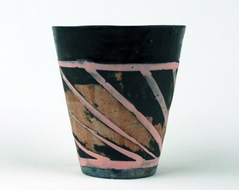 Small Black Cup with Pink Stripes