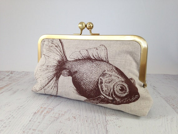 Chocolate Brown Goldfish Clutch. Natural Linen Clutch. Screen Printed Fish Clutch. Fish Purse. Animal Curiosity. Gift for Her Under 50