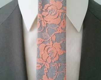 Boudior Lace Overlay Neck Tie in Grey and Coral
