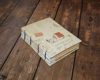 Vintage Postcard Journal, Summer Wedding Guest Book, Realtor Gift, Travel Journal