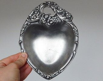 french pewter heart dish french decoration coin dish