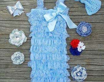 Lace Romper Baby Romper Lace Petti Romper 1st Birthday Outfit Petti Lace Romper Toddler Romper Girls Romper Light Blue Romper Newborn Romper