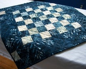 Blue Batik Table Topper Cheerful Winter Cold Spell Handmade Quilted