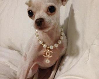 "Pearl Dog Necklace Collar fits 8""-15"" dog birthday gift rhinestone dog collar"