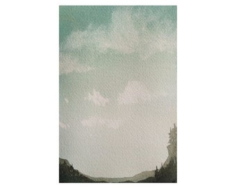 Watercolor Art Original Watercolor Painting Watercolor Landscape Cloud Painting Forest Painting Small Art Landscape wall art