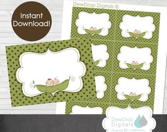 Peas in a Pod Baby Shower Invitation Twins Boy Girl Personalized YOU PRINT Invite Pea Twin Matching buffet labels INSTANT Download