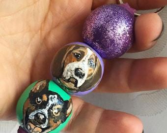 Pet Portrait Keychain, custom hand painted wooden bead, dog cat bird fish Pet picture, pet tribute