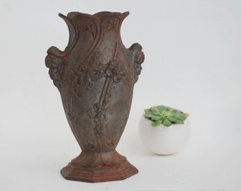 French Cast Iron Vase, Antique Vase,  Cast iron planter, Garden decor, Outdoor planter.