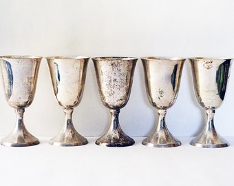 Five Silver Plated Wine Glasses | Metal Goblets | Drinkware | Barware | Set #1 | Metal Cups | Mansion Heirloom | Metal Wine Glasses