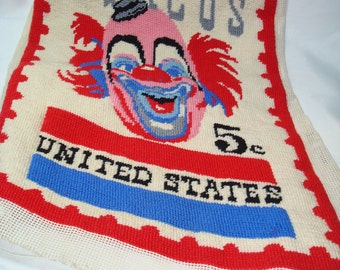 Vintage 1966 Lou Jacobs Ringling Brothers Circus Clown Commemorative Stamp Needlepoint.