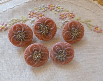 Antique Czech's Buttons, Mauve Pink with Silver Center, Really Nice, 1930's Pink and Silver, 22 mm, Pink with Silver Luster Buttons