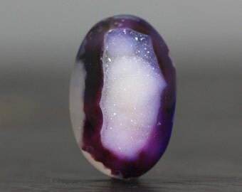 Eggplant Purple & White Druzy Cabochon Flatback Cabochon Bead Loose Stone Crystal Jewelry Polished Gem Drusy, Jewelry Ring Pendant Necklace