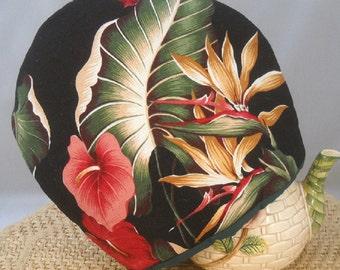 Tea Cozy Tropical Barkcloth Hibiscus Anthurium Birds-Of-Paradise Beach