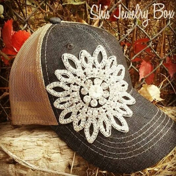 Bling baseball hat, flower bling trucker hat, bling hat, trucker hat, fashion hat, fashion trucker hat, mesh trucker hat, womens gift