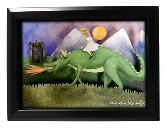 The Dragon and the Princess - Limited Edition Shadow Box Wall Art