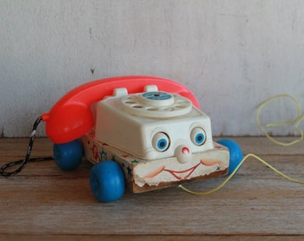 Vintage 1961 Fisher Price Chatter Telephone Pull Toy // Vintage Rotary Phone // Vintage Fisher Price