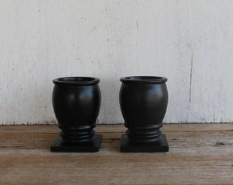 Vintage Wood Candle Holders // Set of 2 // Vintage Home Decor