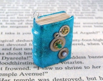 Miniature Book Necklace Charm Steampunk Gears Book Charm