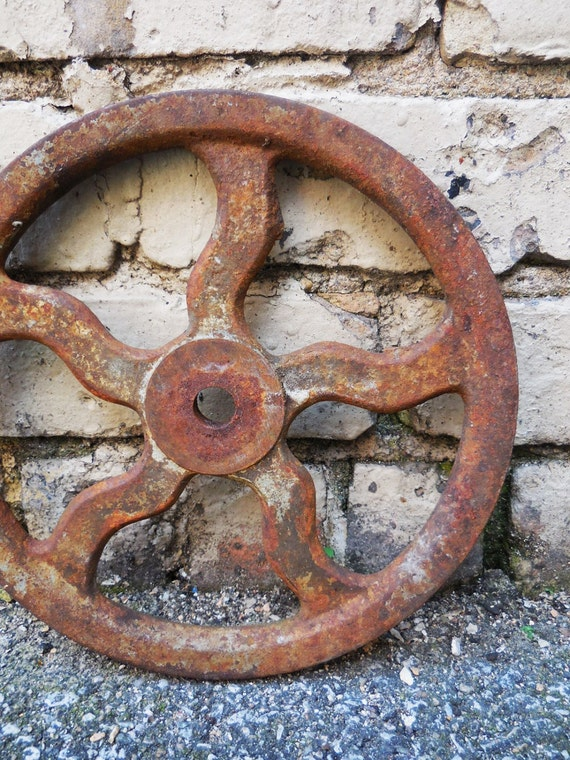Cast Iron Wheels And Gears : Vintage cast iron wheel gear pulley groove industrial farm