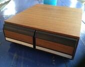 1980's Faux Wood Grain Cassette Tape Holder...not VHS tapes!