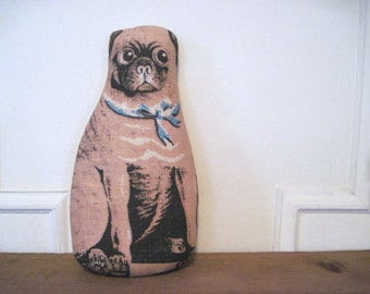 the victorian pug - vintage cotton pillow / door stop - companion show dog, best in show, decorative pillow, throw pillow, stuffed animal