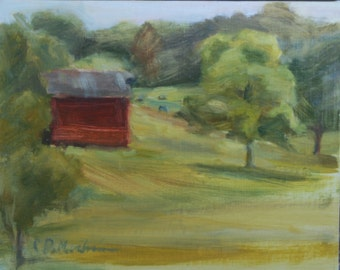 Plein Air, Nashville, Tennessee, Leiper's Fork, Red Barn, Landscape Painting, Farm Scene, Original Oil, Farm Land, Landscape with cows,