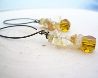 Natural Cut Citrine Dangle Earrings ~ Natural Stone, Czech Glass, Gift for Her