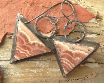 Rhodocrosite Triangle Copper Rustic Earrings