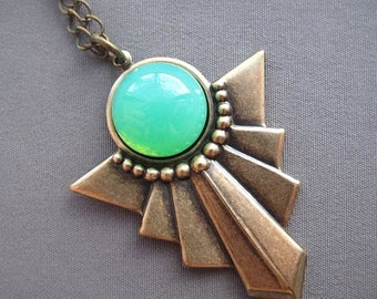 Art Deco Jewelry - Green Necklace - Glass Necklace - Vintage Necklace - Green Pendant - Stone Necklace - Vintage Style - Geometric Necklace