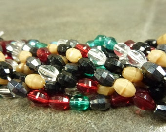 Bejeweled Mix Czech Firepolish Oval Beads Global Faceted 7x5mm Glass 50pc strand Emerald Siam Jet Caramel
